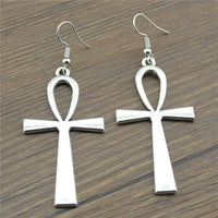 Ankh Cross Drop Earrings