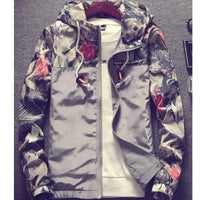 Floral Bomber Jacket - Gray / M / China