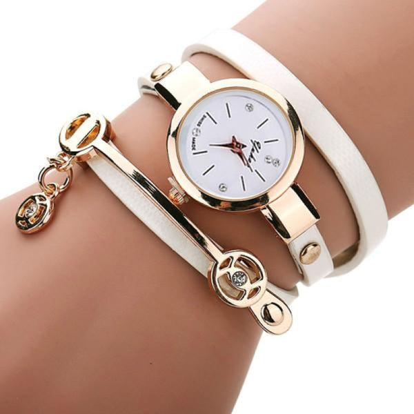 Rose Gold Charm Wrap Watch - Ivory