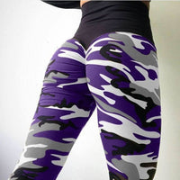 2018 New Camo Print Leggings - Fuchsia / L