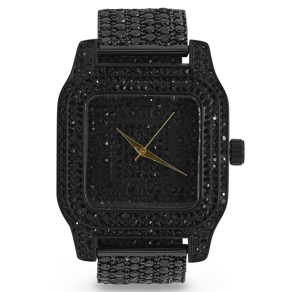 Black Roman Numeral Square Dial Full Cz & Crystal Accented Watch & Band