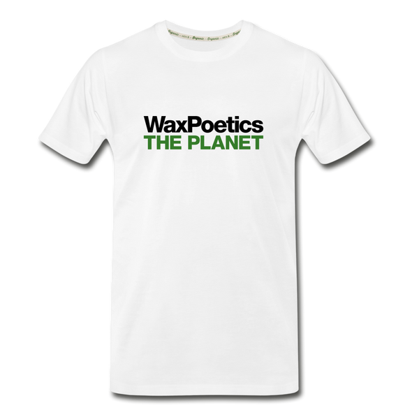 Men's Premium Organic T-ShirtWax Poetics THE PLANET (Fitted T-Shirt) [White/Army Green] - white