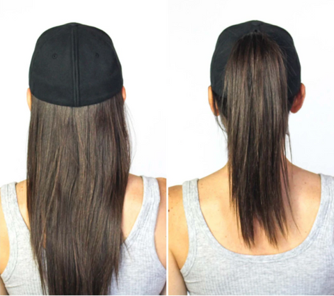 picture from behind at women with hair down wearing a black hat and a women with hair in a pony tail while wearing a black hat