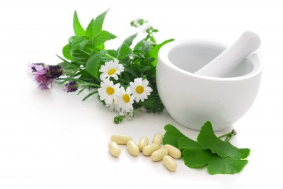 Naturopathic Herbals with Mortar and Pestle