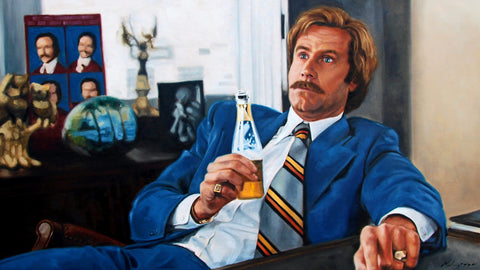 Madison Gregory Art Print - Ron Burgundy In Blue
