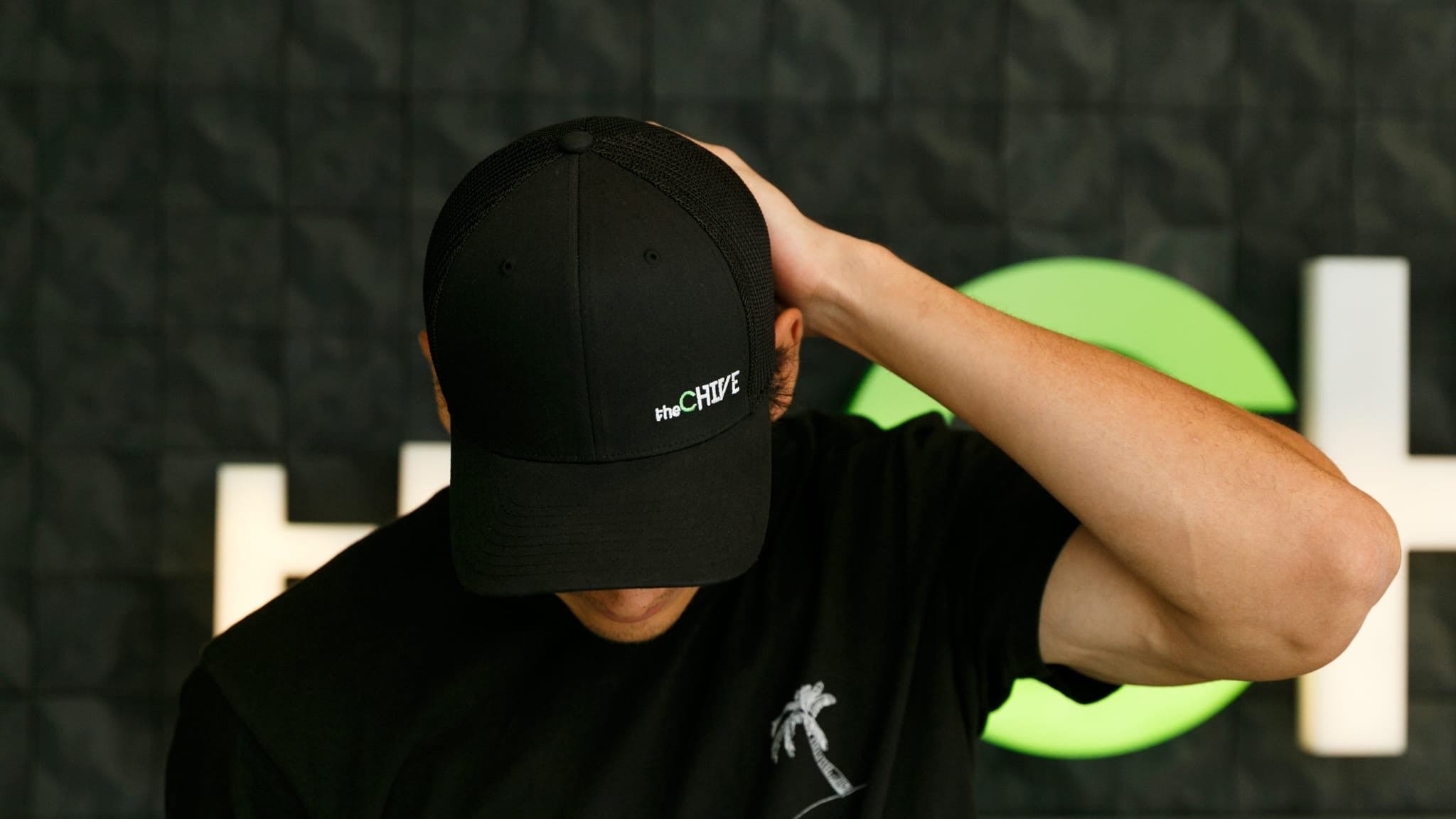9b57bd41476 Vincent theCHIVE Logo Flexfit Hat. Double tap to zoom