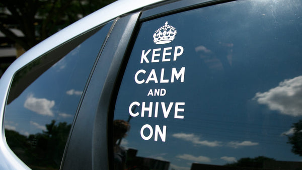 Keep Calm And Chive On Sticker White Vinyl Decal The