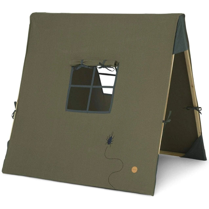Ferm Living Play Tent With Beetle Embroidery - Dark Olive