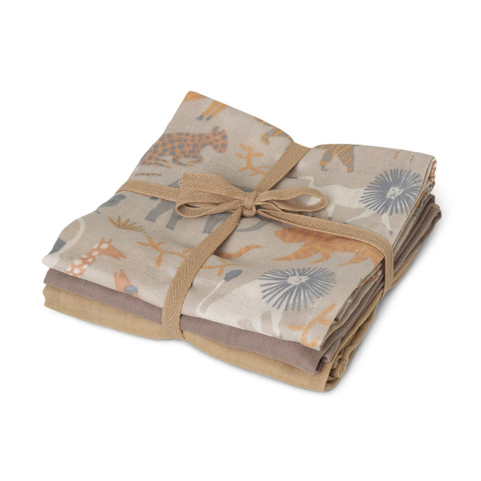 Ferm Living Organic Muslin Squares - Set of 3 - Safari