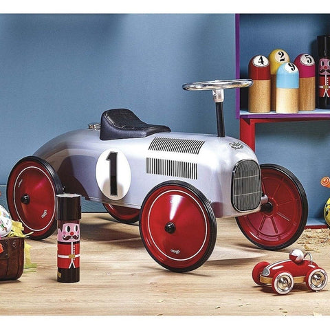 Vilac Metal Ride-On Vintage Racing Car - Grey