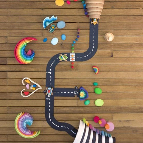 Waytoplay Rubber Toy Car Track Set - Expressway - 16 Pieces