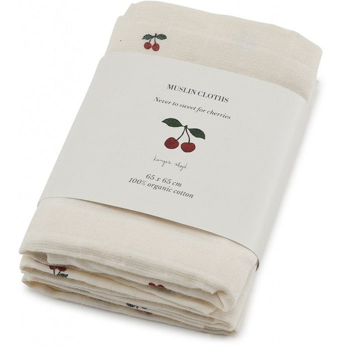 Konges Slojd 3-Pack Organic Muslin Cloths - Cherry
