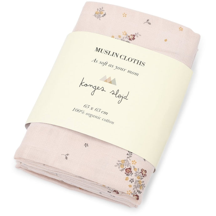 Konges Slojd 3-Pack Organic Muslin Cloths - Nostalgia Blush
