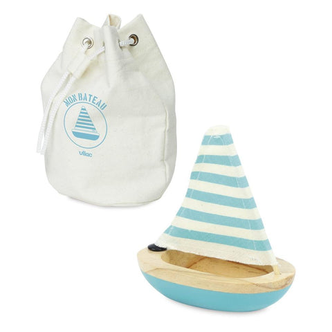 Vilac Wooden Bath Sailboat - Blue