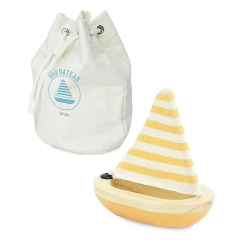 Vilac Wooden Bath Sailboat - Yellow