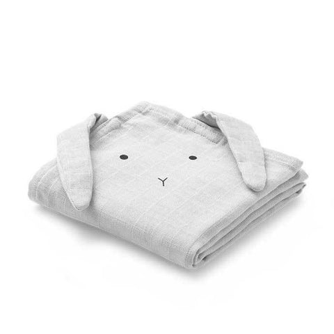 Liewood Hannah Organic Muslin Cloths Rabbit 2 Pack - Rabbit Dumbo Grey