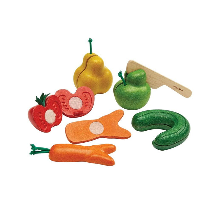 Plan Toys Wooden Wonky Vegetables & Fruit Set | Soren's House