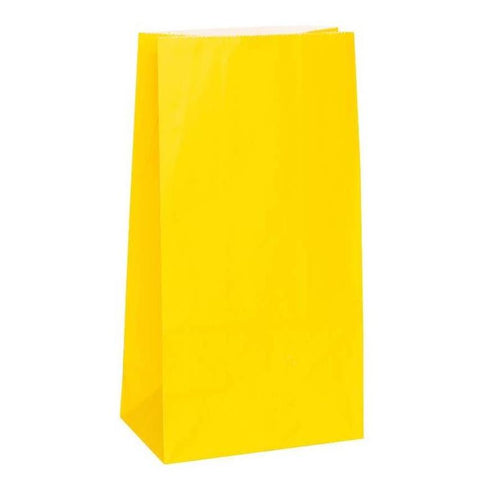 Sunflower Yellow Paper Party Bags - 12 Pack