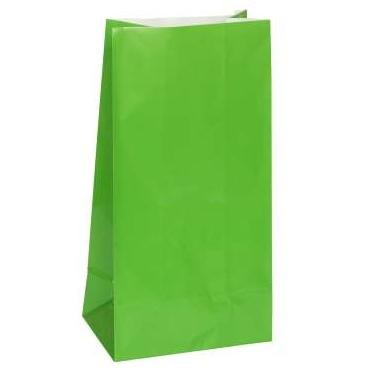 Green Paper Party Bags - 12 Pack