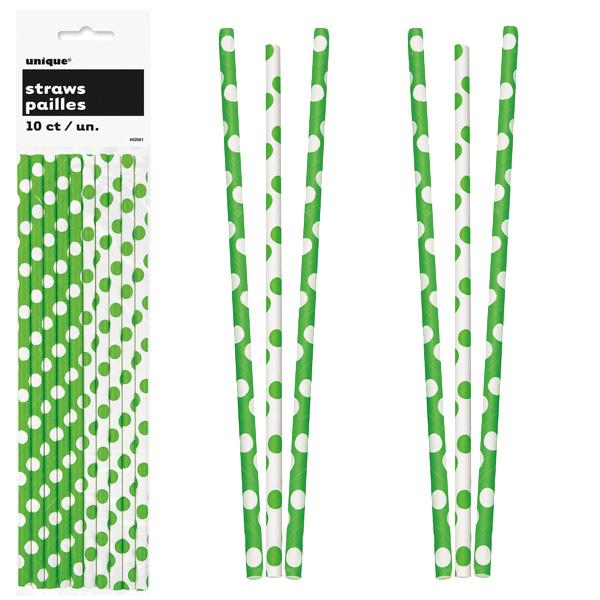 Paper Straws 10 Pack - Lime Green Polka Dots