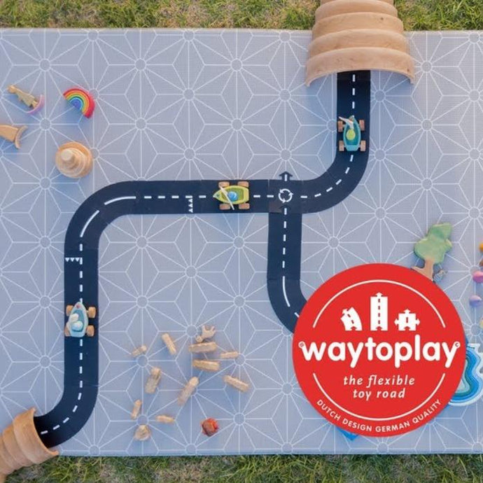 Waytoplay Rubber Toy Car Track - Long Straight Extension Set - 6 Pieces