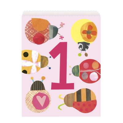 Paper Party Bags 8 Pack - Ladybug 1st Birthday