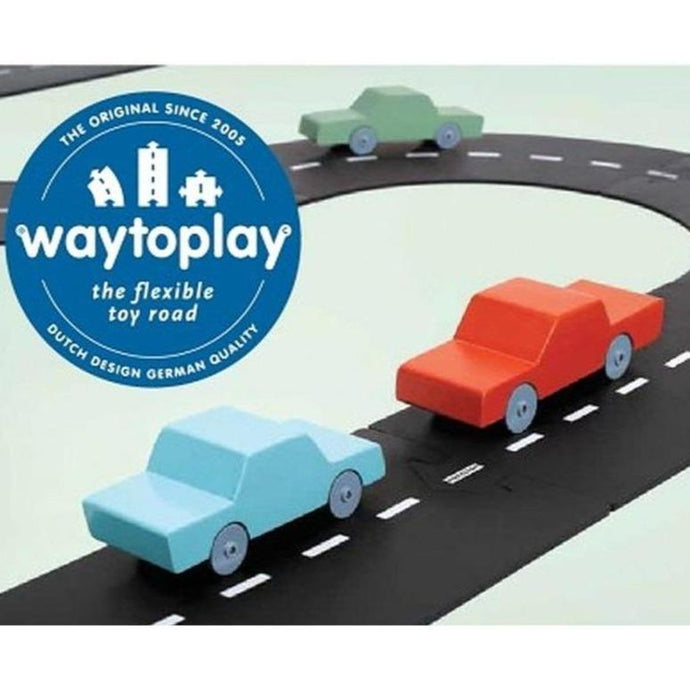 Waytoplay Rubber Toy Car Track - Halfway Extension Set - 7 Pieces