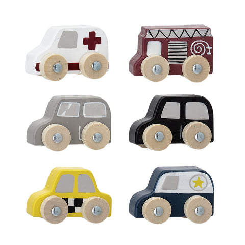 Bloomingville Set of 6 Wooden Toy Cars