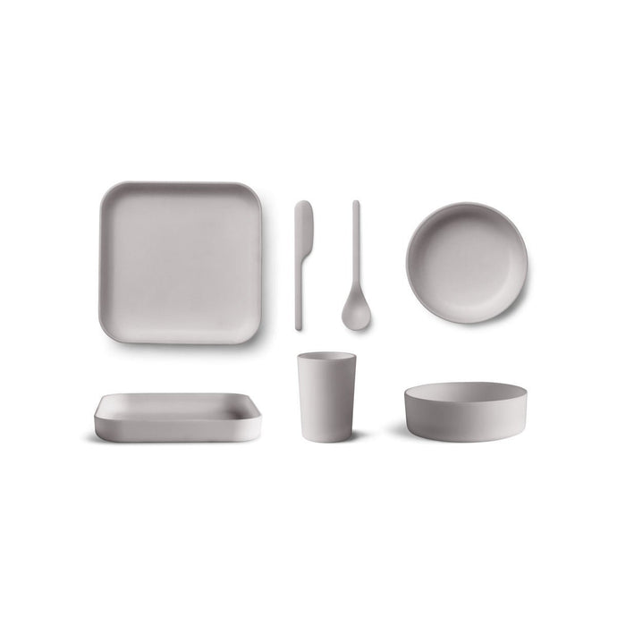 Liewood Aiko Bamboo Junior Tableware Set - Dumbo Grey
