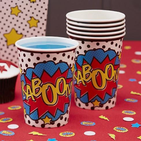 Paper Cups 8 Pack - Comic Superhero By Ginger Ray
