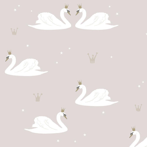 Hibou Home Wallpaper - Pale Rose Swans