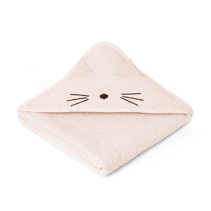Liewood Organic Augusta Hooded Towel - Cat Sweet Rose | Hooded Towels