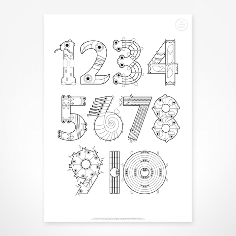 Animal Numbers Gigantic Colouring Poster by The Jam Tart