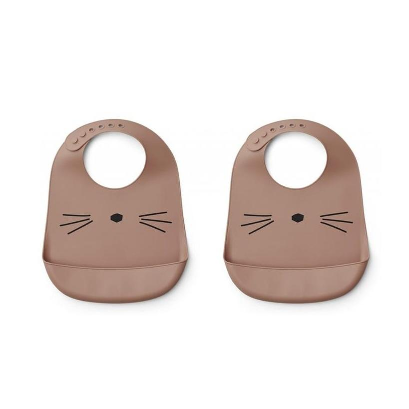 Liewood Tilda Silicone Bib 2-Pack - Cat Dark Rose