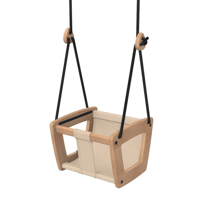 Lillagunga Toddler Almond Fabric Wooden Indoor Swing - Oiled Oak or White Birch