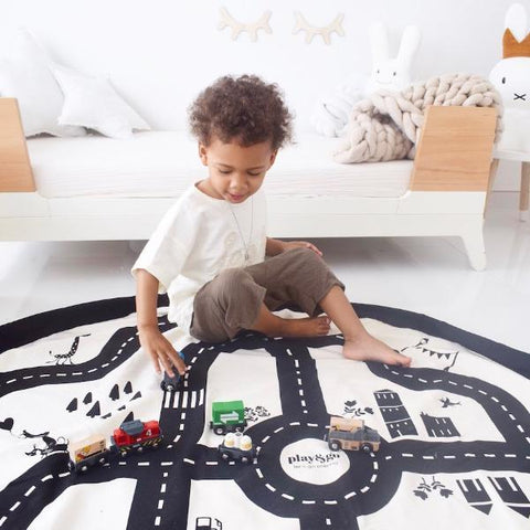 Roadmap Play & Go Reversible Toy Storage Bag & Playmat | Soren's House