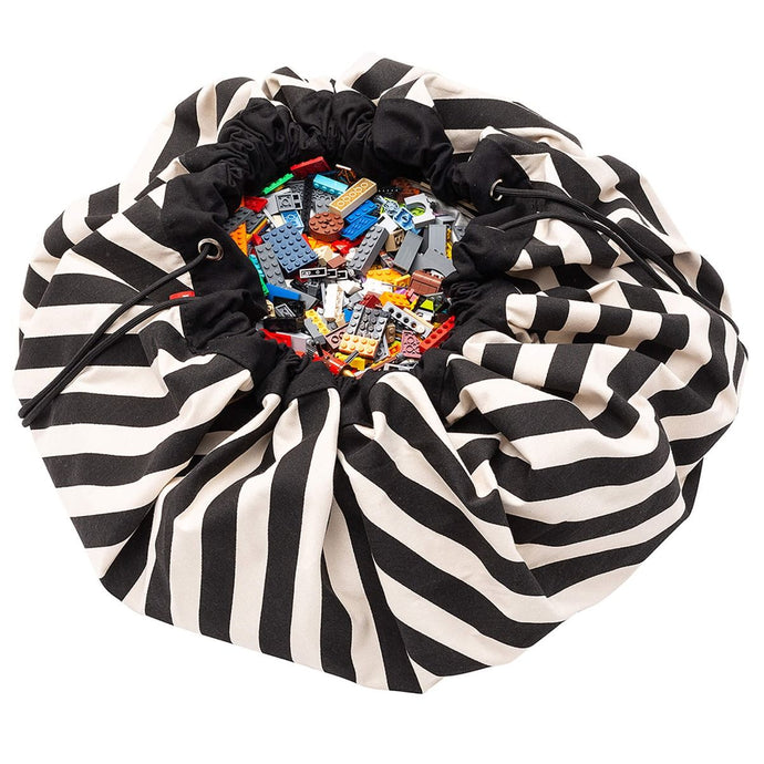 Play & Go Toy Storage Bag & Playmat - Black Stripes