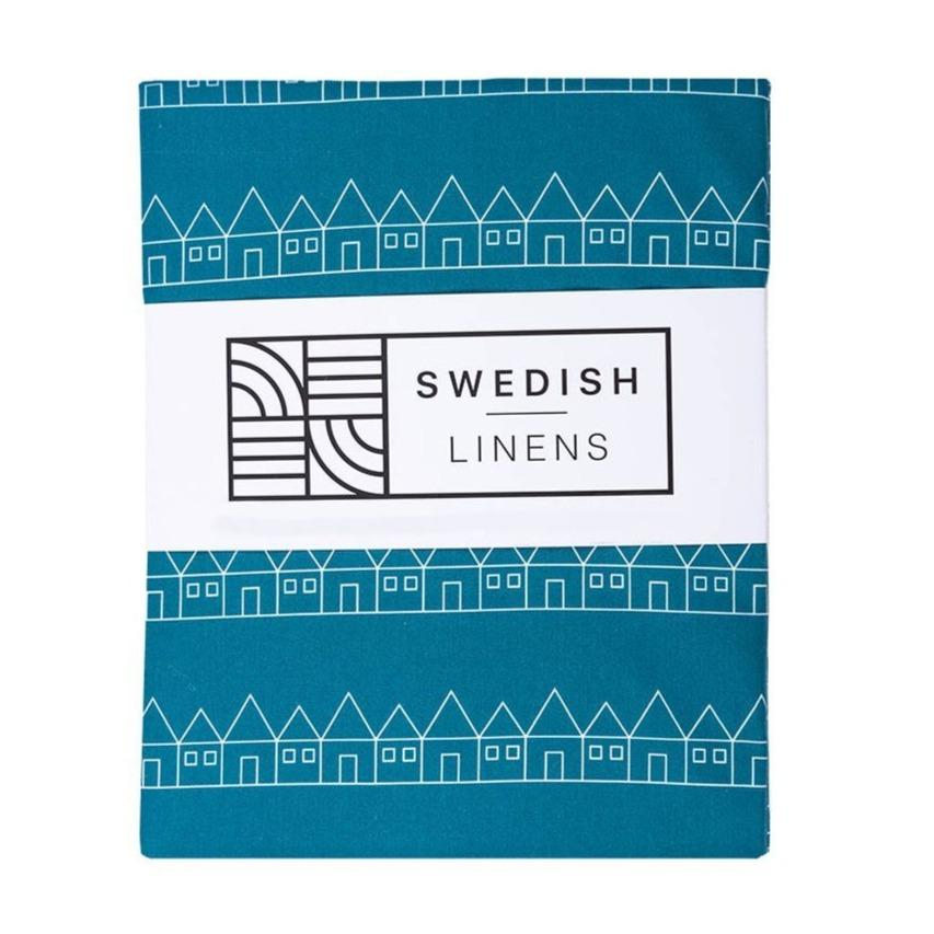 Swedish Linens Fitted Sheet - Lindbacken Moroccan Blue - 90 x 200cm