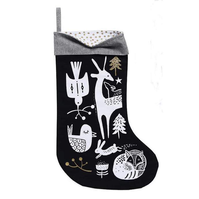 Wee Gallery Winter Animals Stocking - White On Black