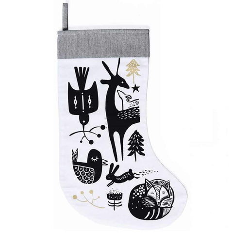 Wee Gallery Winter Animals Stocking - Black On White