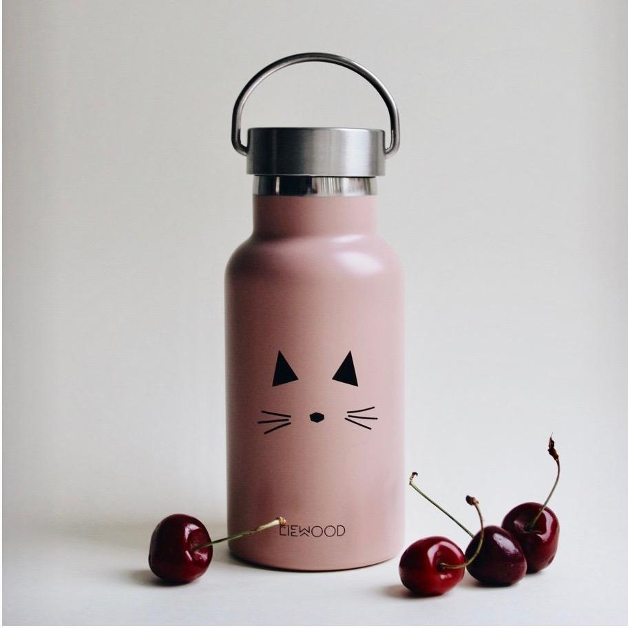 Liewood Anker Steel Water Bottle - Cat Rose | Drinking Bottles