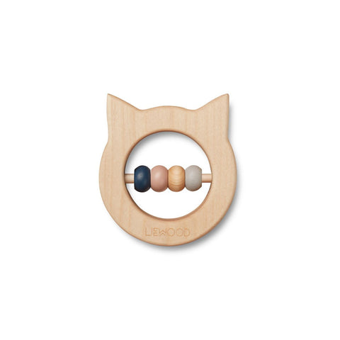 Liewood Ivalu Wood Teether - Cat Natural | Liewood
