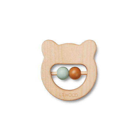 Liewood Ivalu Wood Teether - Mr Bear Natural | Liewood