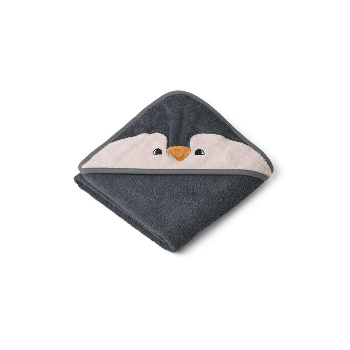 Liewood Organic Albert Hooded Baby Towel - Penguin Stone Grey
