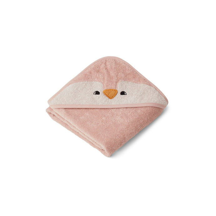 Liewood Organic Albert Hooded Baby Towel - Penguin Rose