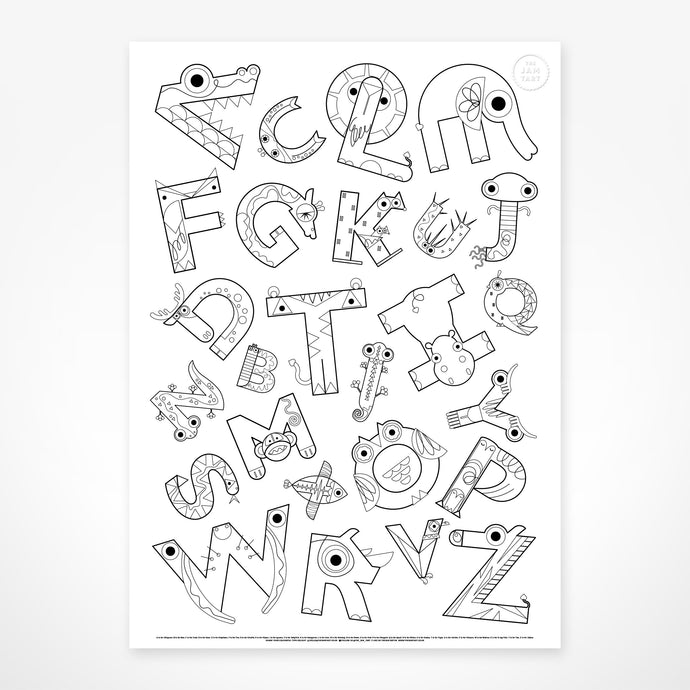 Children's Animal Alphabet Gigantic Colouring Poster by The Jam Tart
