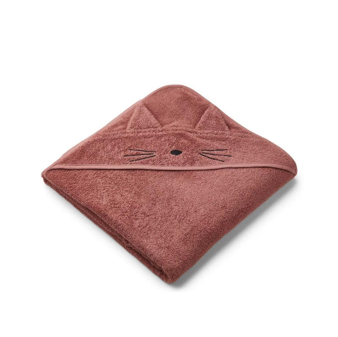 Liewood Organic Augusta Hooded Towel - Cat Dark Rose