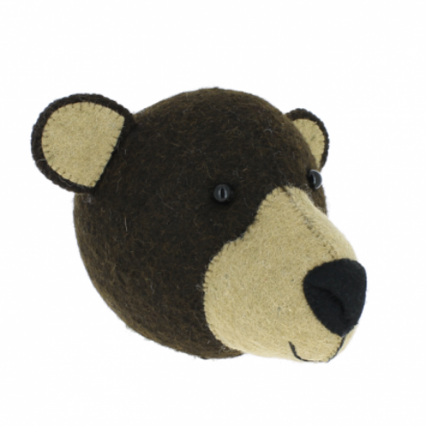 Fiona Walker Bear Felt Animal Wall Head - Mini | Soren's House