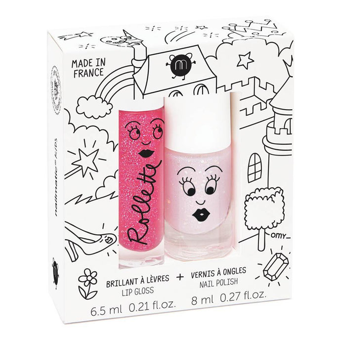 Nailmatic Natural Lip Gloss & Varnish Duo - Fairytales (Raspberry/Powder Pink Glitter)