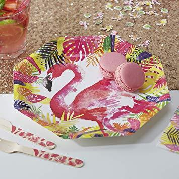Flamingo Paper Plates 8 Pack By Ginger Ray